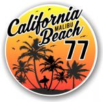 California Malibu Beach 1977 Surfer Surfing Design Vinyl Car Sticker Decal  95x95mm